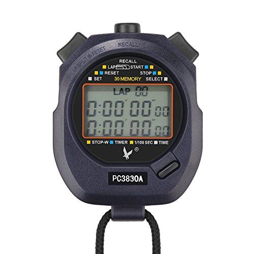 Flexzion Digitale Chronograaf Timer Stopwatch Countdown Sport Stop Horloge Counter 30 Herinneringen Handheld voor Zwemmen Running Interval Outdoor Activiteiten Met Grote LCD Display Halsband Zwart