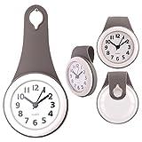 MRKE Wanduhr Wasserdicht, Geräuschelose Nicht Tickende Wanduhr Badezimmer Badezimmeruhr Uhrzeit Uhr mit Saugnapf, Grau