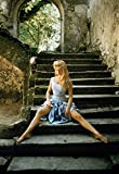 Posterazzi DAP13894 Brigitte Bardot - Sitting on Ruin Steps in Blue Dress Photo Print, 8 x 10, Multi