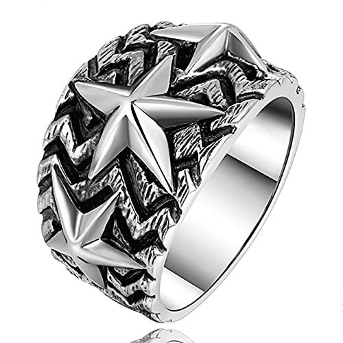 Anillo de estrella, estrella de cinco puntas con personalidad de plata de ley 925 sólida para hombres, joyería de plata tailandesa vintage