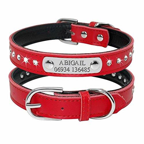 Didog, Collare per cani imbottito con strass scintillanti, con targhetta identificativa con incisione, in pelle, per cani e gatti di taglia piccola e media, personalizzabile