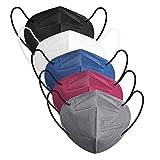 IDOIT Mascarillas FFP2 homologadas para adultos desechables 5 capas 50 pack según norma europea CE y EN 149:2001+A1:2009(Blanco, Negro, Gris, Rojo, Azul)