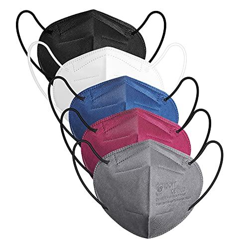 IDOIT 50 Stück bunte FFP2 Maske, CE zertifizierte 5 farbige Atemschutzmasken mit 5-lagige hohe Filtration, Einzeln verpackte Mund- und Nasenschutzmaske