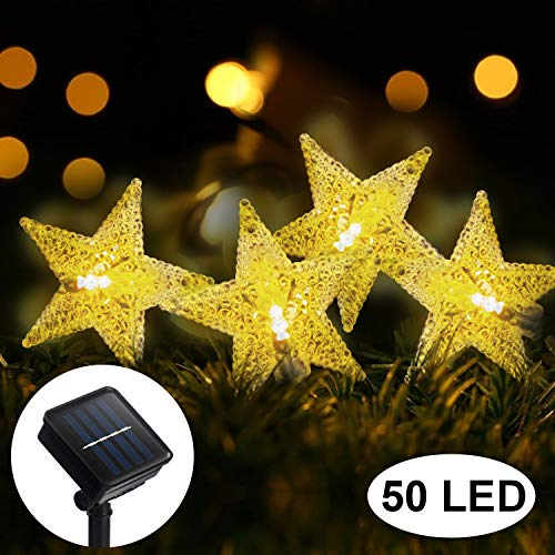 Solar Star String Lights, 31ft 50 LED Solar String Lights, 8 Modes Solar Powered Twinkle Fairy Lights, Star Twinkle Lights, Garden Decorative Fairy Christmas Lights for Garden, Patio, Home(Warm White)