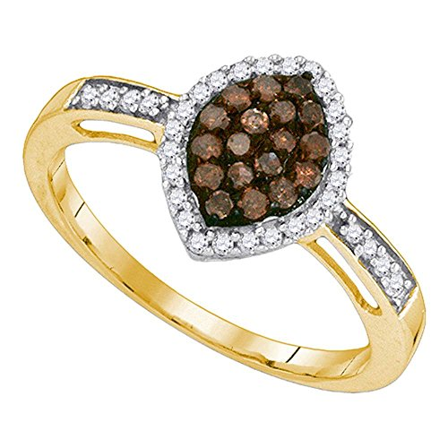 Size - 8 - Solid 10k Yellow Gold Round Chocolate Brown and White Diamond Engagement Ring OR Fashion Band Channel Set Marquise Shaped Halo Ring (1/3 cttw)