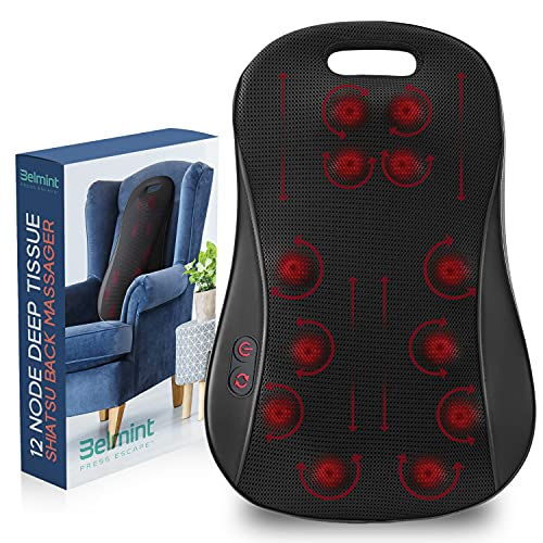Belmint Deep Kneading Back Massager - Heated Shiatsu Massage with 3D Nodes to Relax & Relief Back Pain and Muscle Soreness - Home, Office, Car Use