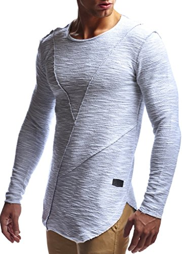 Leif Nelson Herren Pullover Hoodie Kapuzenpullover Sweatjacke Longsleeve Sweatshirt Jacke Basic Rundhals Langarm Oversize Shirt Hoody Sweater LN6323; Größe L; Grau