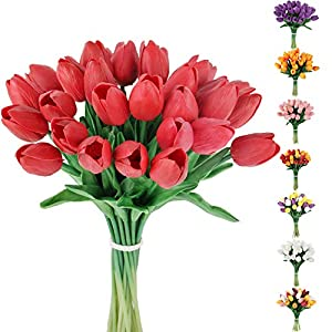 C APPOK Artificial Tulips Flowers Fake Latex Tulip Stems – 30pcs Real Touch Faux Red Tulips Flower for Easter Spring Wedding Bouquet Centerpiece Floral Arrangement Cemetery Table Decor