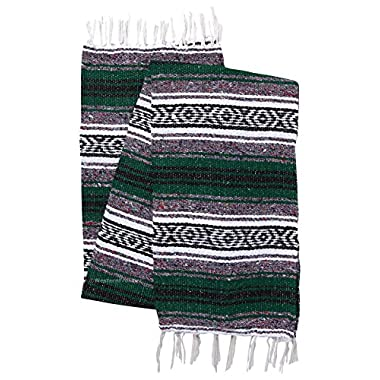 El Paso Designs Genuine Mexican Falsa Blanket - Yoga Studio Blanket, Colorful, Soft Woven Serape Imported from Mexico (Green)