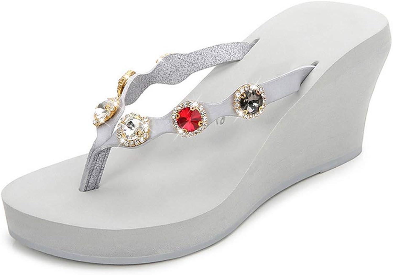 Women's Flip Flops Comfortable Fashion Rhinestone Decorations Summer Beach Breathable Wedge shoes Slipper