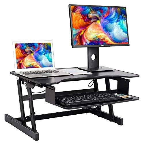 ER sano Sit-Stand Computer Desktop Workstation | Altezza regolabile in piedi da scrivania | Sollevamento e abbassamento del tavolo in varie posizioni per ergonomico Comfort (nero)