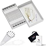 Cocktail Picks in Gift Box - Upgrade Stainless Steel Martini Olive Skewers Reusable Sandwich Sticks Appetizer Toothpicks Fruit Stick, Perfect for Party Home Bar - 4.3 Inches, 12PCS (Small Ball)