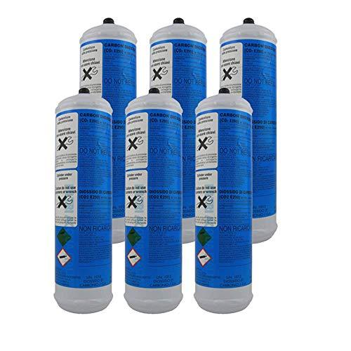 Lot de 6bonbonnes de CO2600g jetables pour eau et réfrigérateurs, fixation 11mm, pas de vis 1mm