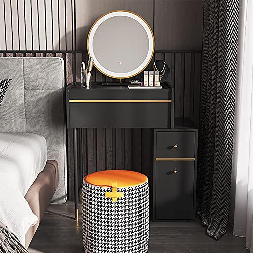 SWTOM Tocador Moderno Escritorio de PC de Estilo Europeo Patas de Metal sólido Espejo Redondeado Brillo Ajustable Dormitorio de ensamblaje Simple