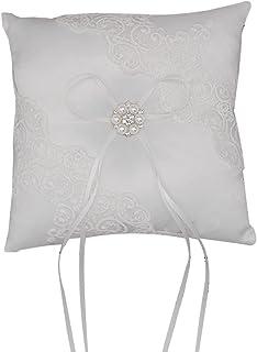 NCONCO Cojín de almohada para anillo de boda con lazo de satén para anillos y ceremonia de compromiso