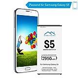 HONITURE Akku für Samsung Galaxy S5, 2950mAh hohe Kapazität Lithium-Ion Poylmer Batterie, Ersatzakku mit NFC Funktion für Samsung S5
