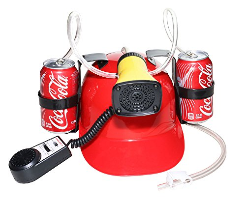 Beer and Soda Drinking Hard Hat Helmet – Hands Free Drinking Tool for every Occasion - Fun Drink Guzzler for Parties, Carnivals, BBQ's, School, or College - One Size Fits Most