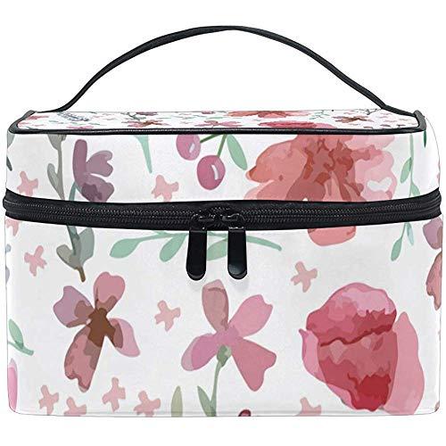 Petite Trousse de Maquillage de Fleur Rose, Sac cosmétique, capacité et Sacs de Maquillage réglables Trousse de Toilette étanche