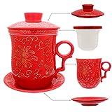 HOLLIHI porcelana taza de té con tapa y platillo infusor Sets – chino Jingdezhen cerámica taza de café de té sistema de preparación de té para oficina en casa