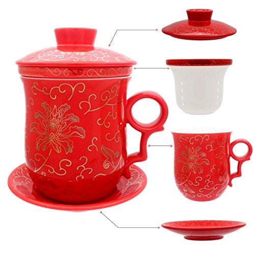 Hollihi - Ensemble tasse à thé en porcelaine avec couvercle et soucoupe - Tasse en céramique chinoise - Système d'infusion