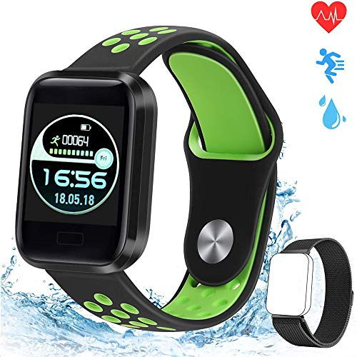 obqo Smart Watches Fitness Trackers Stappenteller Horloge met hartslag Bloeddrukmeter Calorie Stappenteller Slaapmonitor IP67 Waterdichte Activity Tracker voor dames Heren Compatibel met IOS Android