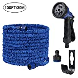 flintronic Garden Water Hose Pipe, Expanding 100FT Double Latex Water Hose Pipe with 8 Prayer Gun for Car Washing/Gardening/Window/Floor Cleaning (Included 1 * Hanger, Storage Bag&Tower)