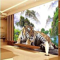 Ljjlm カスタム大規模壁画タイガータイガーダウンタイガーキング横暴テレビソファリビングルーム背景壁紙-200X150Cm