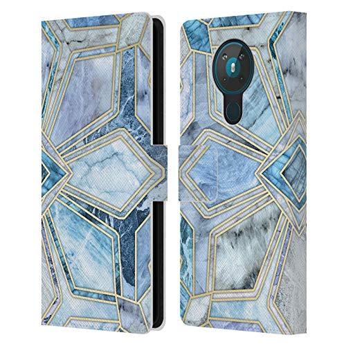 Head Case Designs Licenciado Oficialmente Micklyn Le Feuvre Azulejos geométricos de Piedra Dorada en Azules Suaves Patrones de mármol Carcasa de Cuero Tipo Libro Compatible con Nokia 5.3