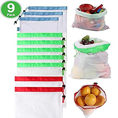 Reusable Mesh Produce Bags-Eco Friendly Premium Washable Polyester Bags-Kitchen Reusable Grocery Bag-3 Sizes Colorful Tare Weight Tags Lightweight Durable Bags for Shopping Fruit Vegetable Toys Storag