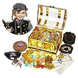 Ulikey Monedas de Oro Juguete Pirata, Monedas de Oro y Gemas, Tesoros Pirata,...