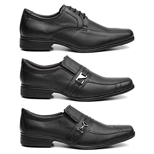 Kit 3 Pares Sapato Social Masculino Clássico Em Couro Cor:Preto;Tamanho:42
