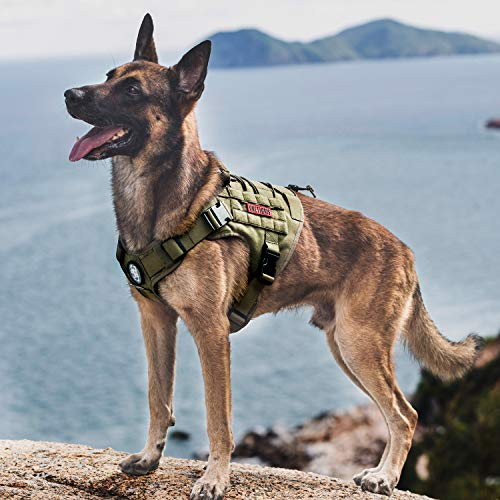 Tactical Dog Harness, Military Dog Harness with Handle Heavy Duty Dog Vest for Hiking Training Outdoor Dogs(Ranger Green, Large)