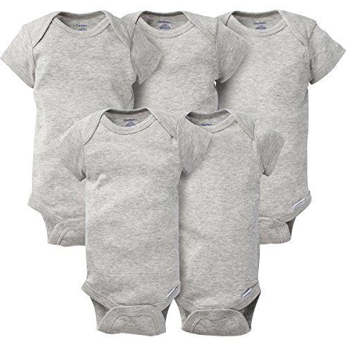 Gerber Baby 5-pack Solid Onesies Bodysuits, Gray, 3-6 Months