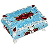 SUNYIK Vintage Enameled Rectangular Decorative Collectible Jewelry Trinket Box for Women,Blue with Red Rose Flower