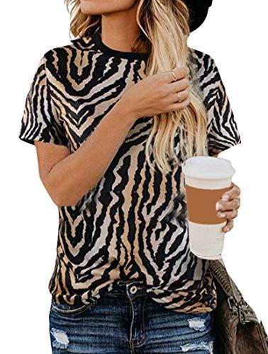 SHOWNO Womens Leopard Print Top Blusa Casual Cuello Redondo Manga Corta Camiseta 1 XS