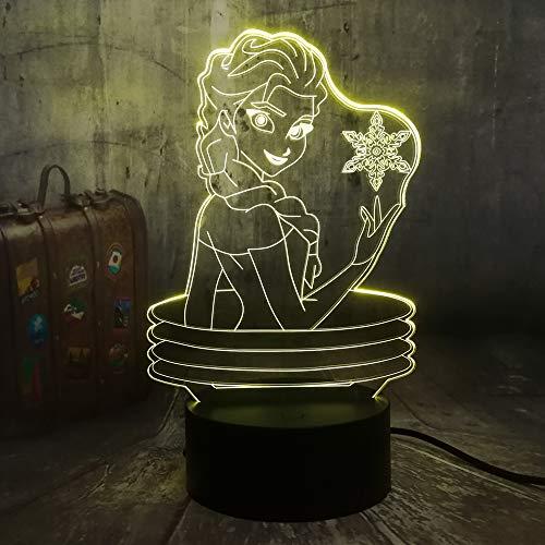 3D Night Light, Belle Reine 3D Lampe Visuelle Illusion Bureau LED Night Light Neige Jouets Décor À La Maison Fille Bébé Cadeaux D'anniversaire