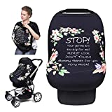 Baby Car Seat Cover, Streathy Nursing Cover for Breastfeeding, Stop No Touch Sign Infant Carseat Canopy Covers, Breastfeeding Cover Scarf, Multi-Use Stroller/High Chair Cover, Best for Baby Shower