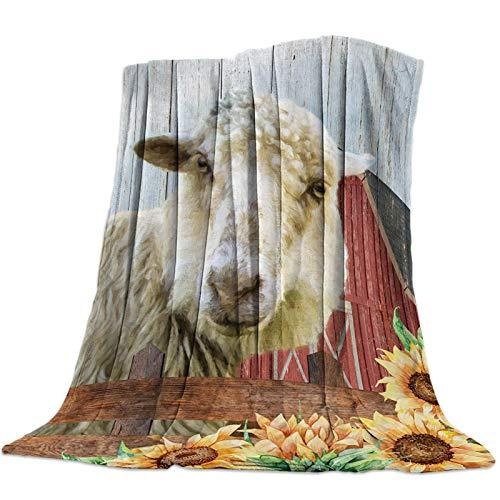 Mantas Para Manta Blanket Ovejas de animales de granja y textura de grano de madera de girasol Mantas 125X100CM