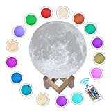 ACED Moon Light, 3D Printed LED 16 Colors RGB Moon Lamp, Remote & Touch Control, Dimmable, Color Changing, USB Recharge, Seamless Lunar Moonlight Night Light Lamp with Stand for Baby Bedrooms, 5.9Inch