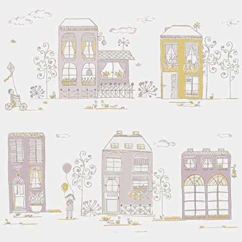 Casadeco 18985139 Papel pintado infantil con edificios y casitas en tonos rosas y pistachos de fondo blanco roto