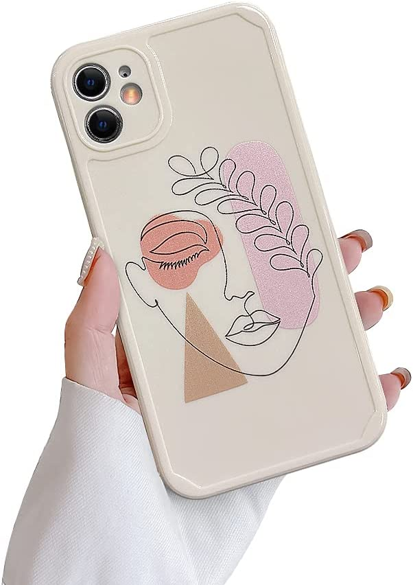 Ownest Compatible with iPhone 11 Case,Cute Abstract Face Leaves Pattern Design Vintage Art Line for Women Girls Soft TPU Anti-Scratch Protective Cases for iPhone 11-Leaves White