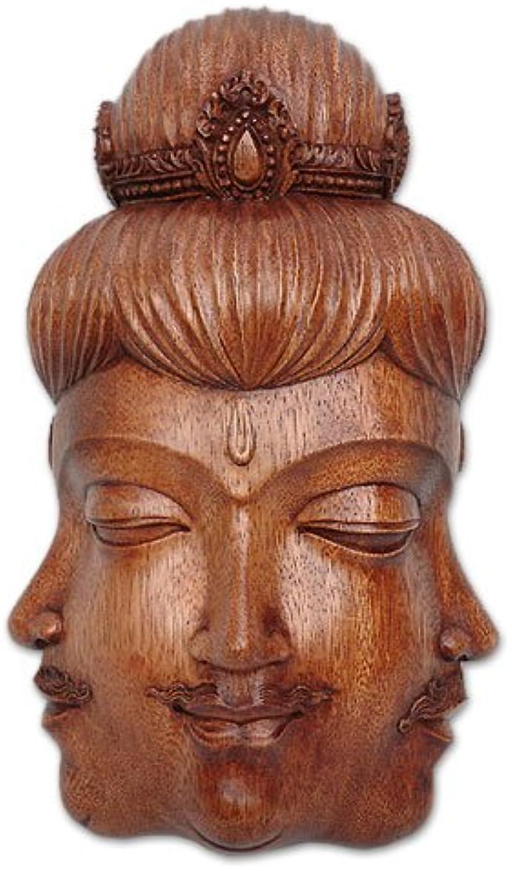 NOVICA 85706 Radiant Trinity Wood Mask