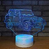 Lindo jeep base agrietada luz nocturna luz de visión 3D luz LED multicolor decoración creativa lámpara de mesa pequeña acrílico luz multicolor