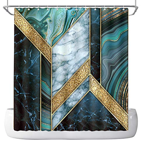 DePhoto Marble Shower Curtain for Bathroom Rose Gold Geometric Textured Abstract Modern Teal Blue Luxury Turquoise Poliester Fabric Decoration Water Proof with 12Hooks 72x72inch