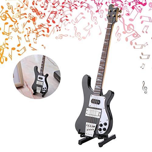 Jadpes Schwarze Miniatur-Bassgitarre, Gitarrenreplik mit Ständer und Koffer Instrument Modell Ornamente Geschenk Ornament mit Ständer und Koffer Dekoration Geschenk