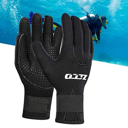 Guanti della Muta, 3mm/5mm Guanti da Sub in Neoprene Guanto da Muta Antiscivolo Caldo Elastico per Uomo Donna Surf Kayak Nuoto Sport Acquatici (Black-3mm,L)