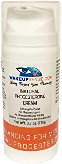 Wake Up Sense Natural Bioidentical Fast Absorbing Wild Yam USP Progesterone Cream For Men & Women, 3.7 oz - 110 pumps with 2400mg Pure Progesterone - Paraben & Phenoxyethanol FREE