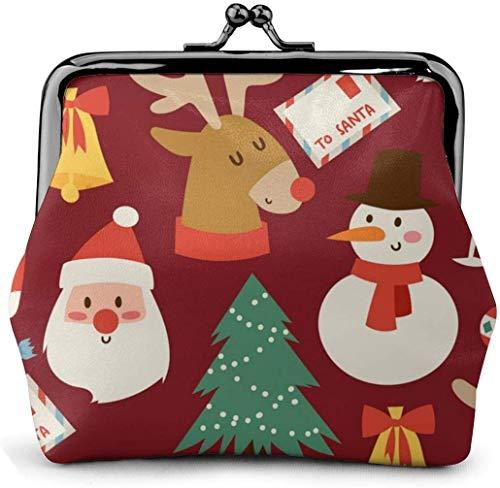 De Li Sheng Carteras Christmas Pattern Women Classic Lock Clutch Wallet Buckle Coin Purses