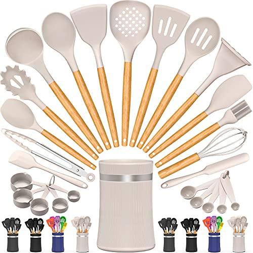 AIKKIL Kitchen Cooking Utensils Set, 26 Pcs Non-stick Silicone Kitchen Utensil Spatula Set with Wooden Handles, Silicone Kitchen Gadgets Utensil Set for Cookware(Khaki)