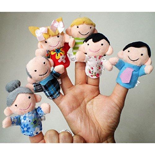 Amison 6pcs nuevo Membro la familia suave Puppet Peluche dedo Juguetes